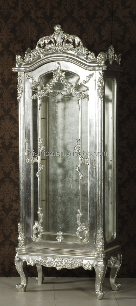 Exquisite Wood Carved Display CabinetSilver Leaf Living Room Side CupboardNoble Silver Wooden Showcase Bf01 Xy1016