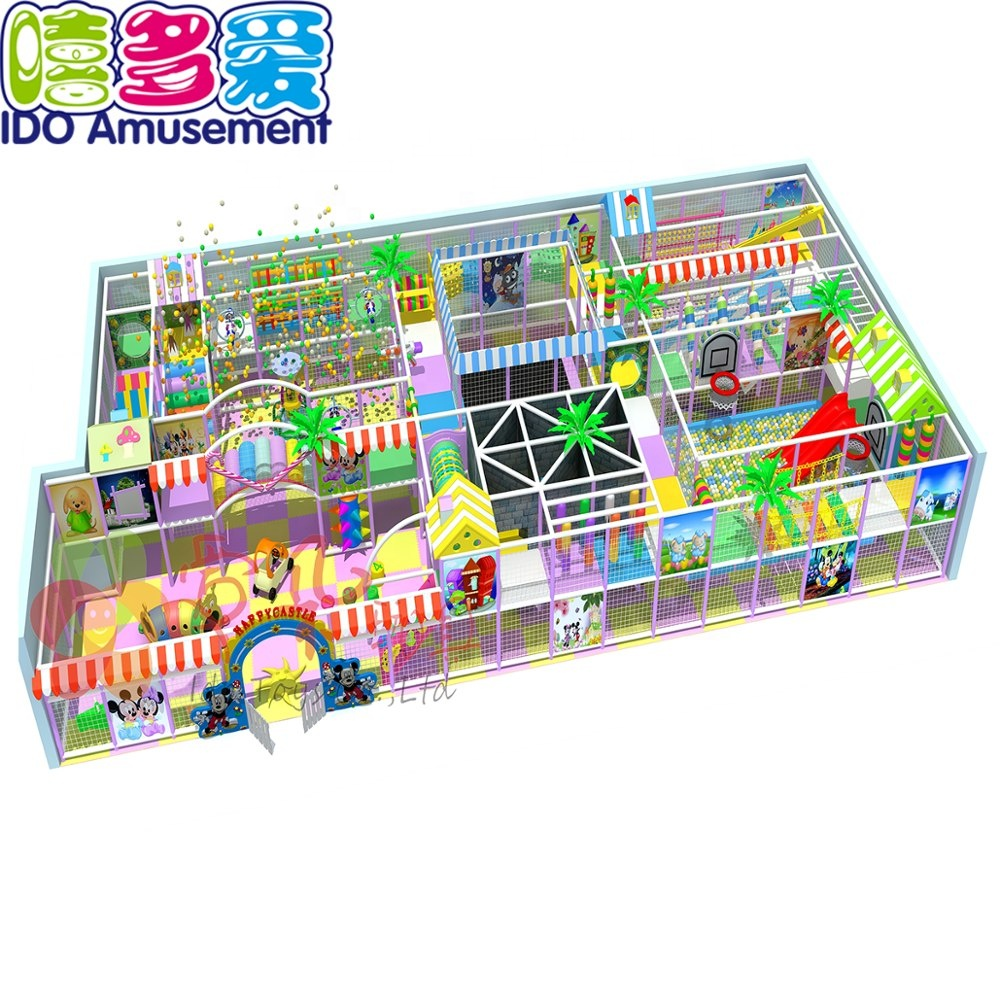 indoor soft playground slide 20 square meters kids maze