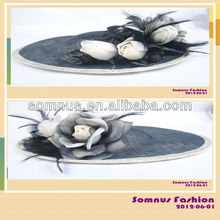 Somnus Fashion Ladies' Hair Accessory Sinamay Hair Fascinator Hat Feather Fascinator