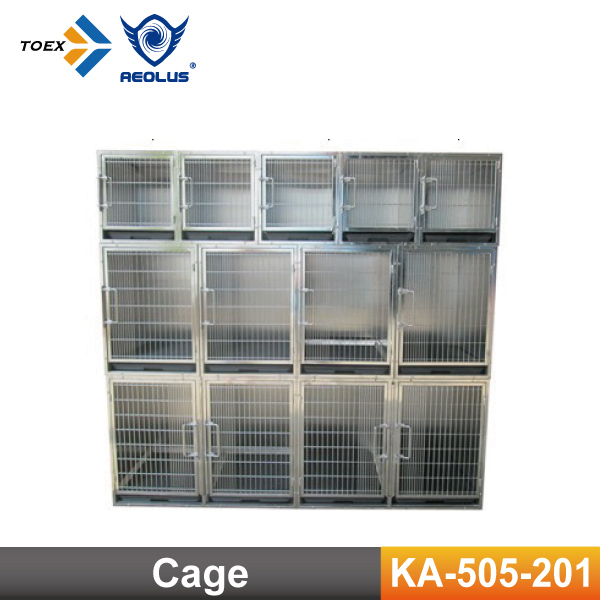 KA-505-201 Modular Dog Kennel Large Stainless Steel Pet Dog Cages Crates with Casters