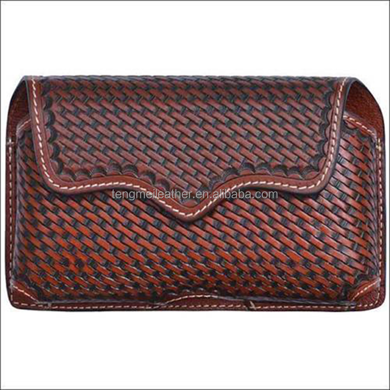 TAN BASKETWEAVE LEATHER HAND TOOLED LARGE SMARTPHONE HOLDER