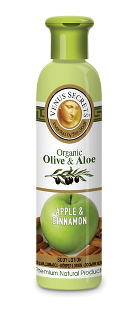 Aromatherapy / Body Lotion / Organic Olive & Aloe with Apple & Cinnamon / 250ml / Body Moisturiser For Dry Skin / Provides Rich And Lasting Hydration / Restores Natural Moisture Of The Skin