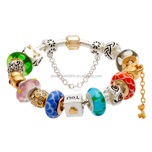 Charm bracelet, wholesale colourful glass beads silver gold plated European bulk wholesale women bangles 2015 charm bracelet