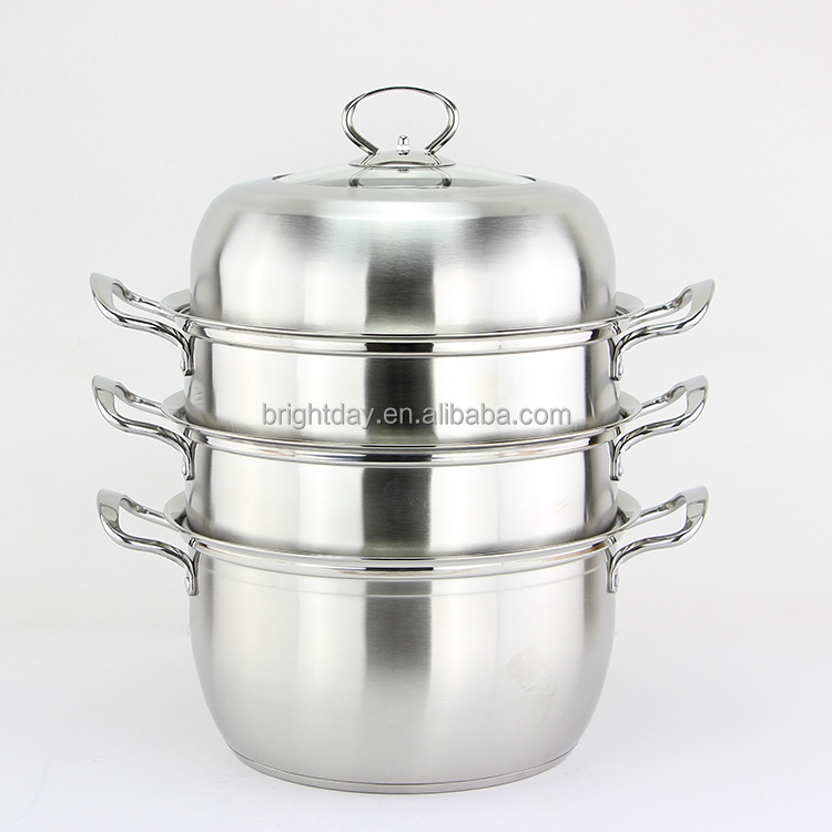 Stainless steel stock pot multifunction used 3 layer food steamer
