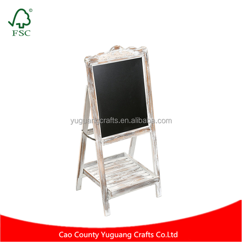 Vintage Stand Shabby Rustic Wood Kid Easel Chalkboard White Washed Brown Wood Writing Chalk Board with Storage Tray Floor