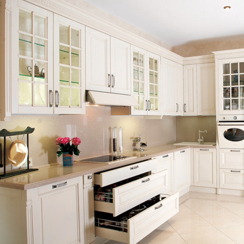 America Solid Wood Kitchen Cabinet With Island Flat Pack Cupboards