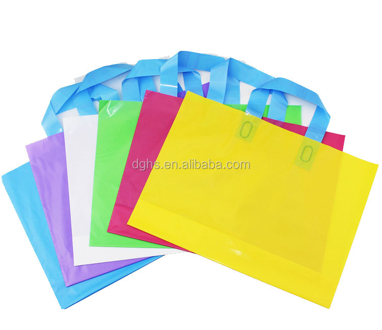 Glossy Soft Loop Plastic Handle Bags /merchandise bags for shopping