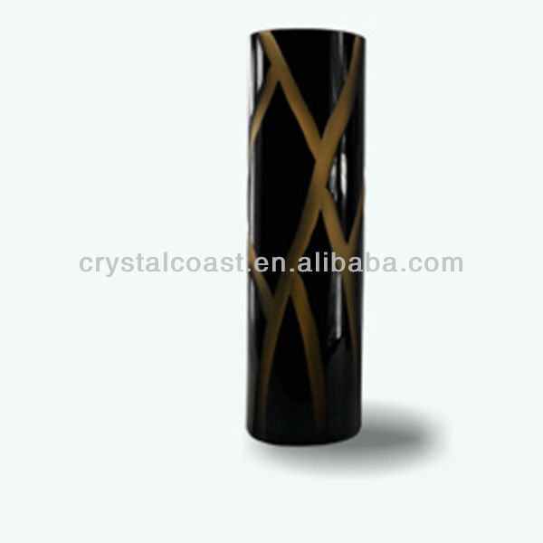 hand cut texture; wholesale lucky bamboo glass vases;black amber mosaic striped rectangular cemetery cylinder glass vase