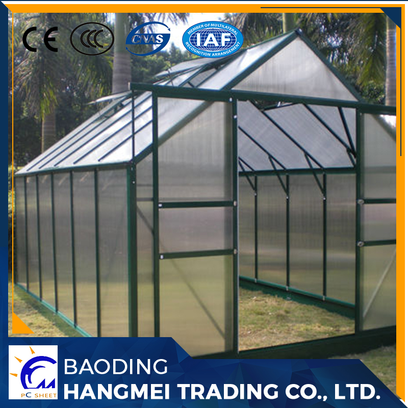 PC polycarbonate sheet outdoor green houses aluminum frame garden greenhouse