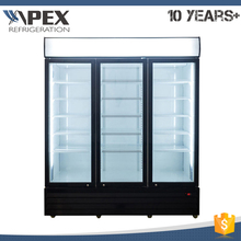 Triple Doors Vertical Display Beverage Refrigerator with Dynamic Cooling System