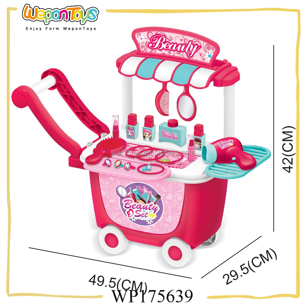 popular pretend playing plastic toy makeup set push car dressing table toy for kids