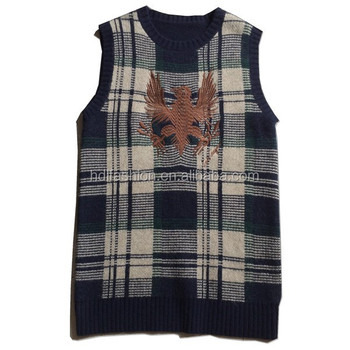 Mens Grid Intarsia Knitting Pattern Embroidery Design Waistcoat For