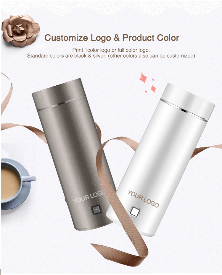 Eco-friendly Self Stirring Heated Electric Heatable Cup Coffee Mug