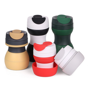 BPA Free Branded Travel Mug / Silicone Collapsible Coffee Cup With Cover