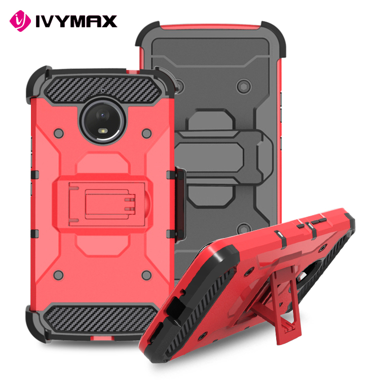 IVYMAX rugged 3 in 1 case 4g mobile phone back cover with holster for MOT E4 PLUS