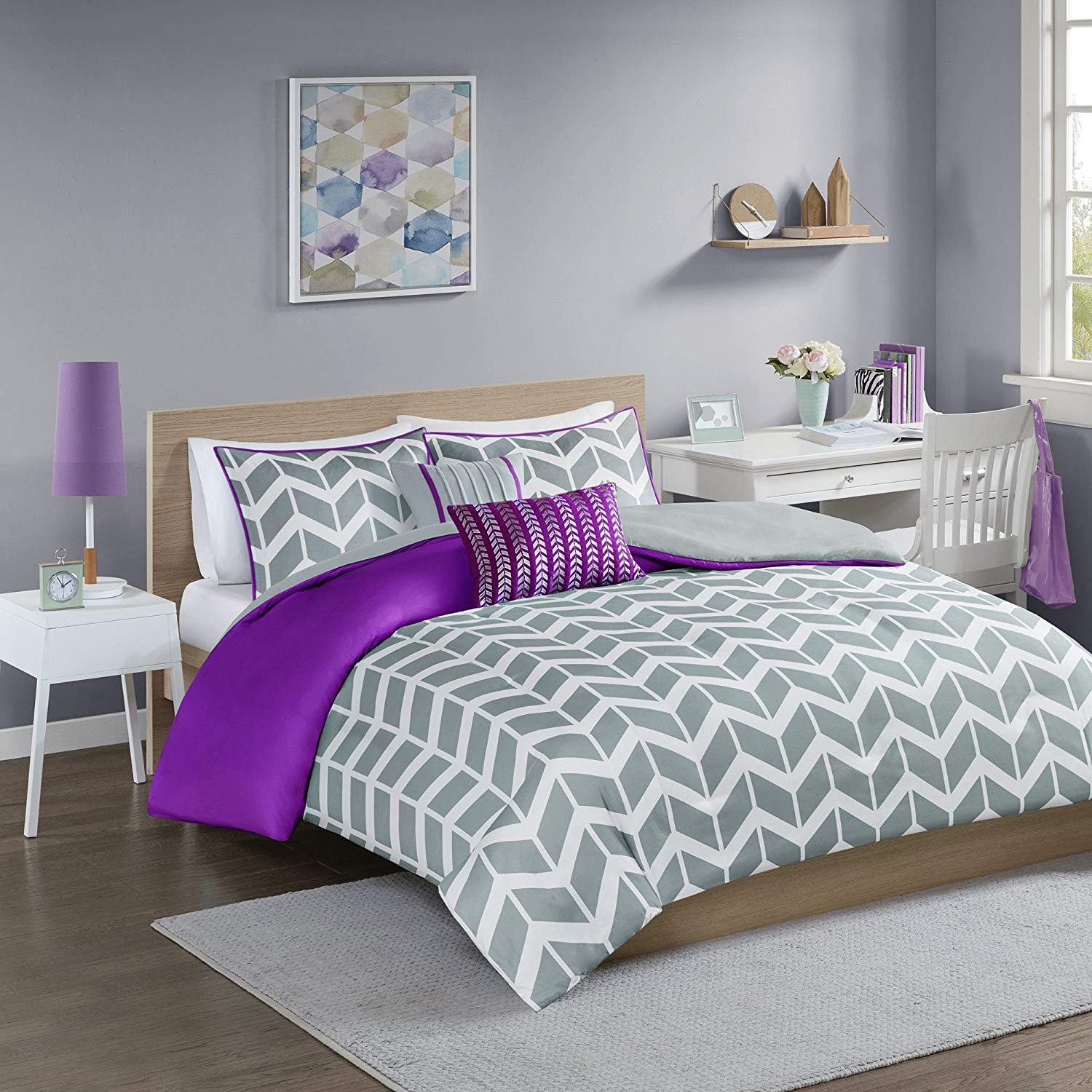 5 Piece Purple Grey Chevron Duvet Cover Full Queen Set, Beautiful Stylish Zig Zag Stripes Reversible Bedding Gray White Hippie Fun Geometric Vertical Stripe Design, Modern Style, Ultra-Soft Polyester