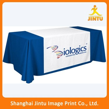 Square Fabric Table Cloth Tradeshow Throw Covers With Logo
