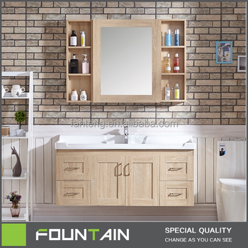Modern Design Two Doors And Four Drawers Wall Mounted Bathroom Vanity Mdf Or Plywood Mirror Cabinet