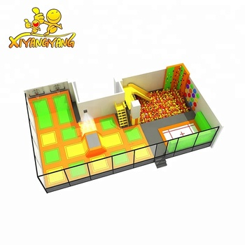 Foam pit jumping trampoline park with slides for sale