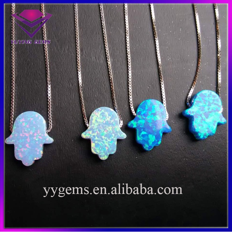 Hot Sale Sterling Silver 925 Chain Synthetic Opal Hand Hamsa Shaped Pendants Charms
