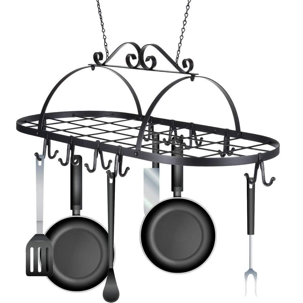 Opino Black Iron Hanging Pot Holder Pan Hanger Kitchen Storage, Hanging Design, Space Saving, Utility Cookware 10 Hook Rack, 31.2 x 15.6 x 10.1inch