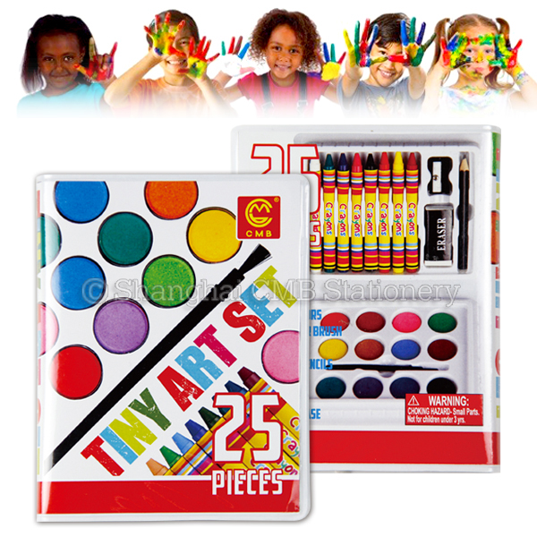25pcs safe mini children stationery set painting with crayons