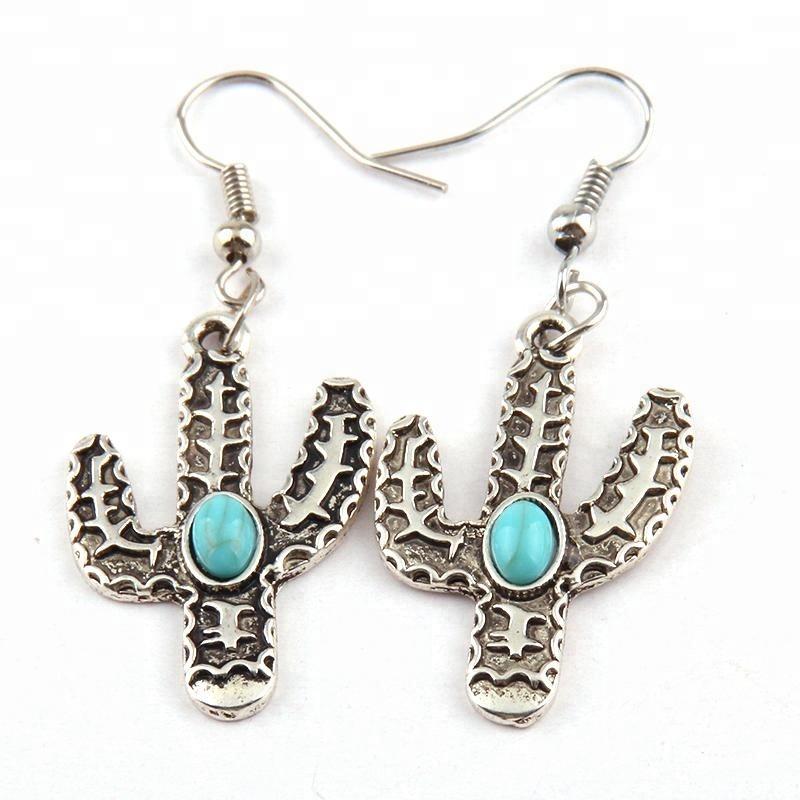 Women Alloy drop earring,Fashion Metal Turquoise Cactus Earring