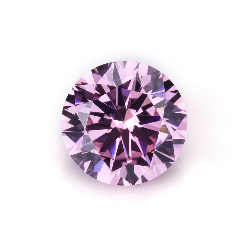 round machine cut pink color Wuzhou synthetic cubic zirconia manufacture for jewelry