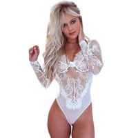 OEM service WHITE& black LONG SLEEVE UNDERWIRE LACE BODYSUIT