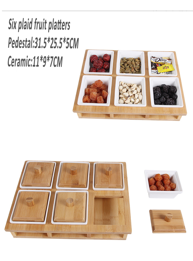 Best Selling Creative Dried Fruit Storage Box Severial Ceramic Bowl with Bamboo Tray