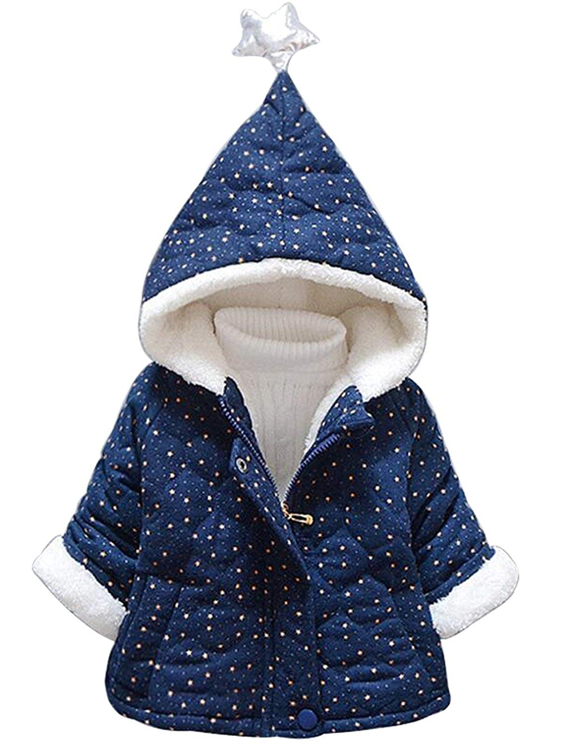 05d64f531 Get Quotations · Jojobaby Baby Boys Girls Fleece Star Print Hooded Snowsuit Winter  Warm Thick Hooded Down Windproof Jacket