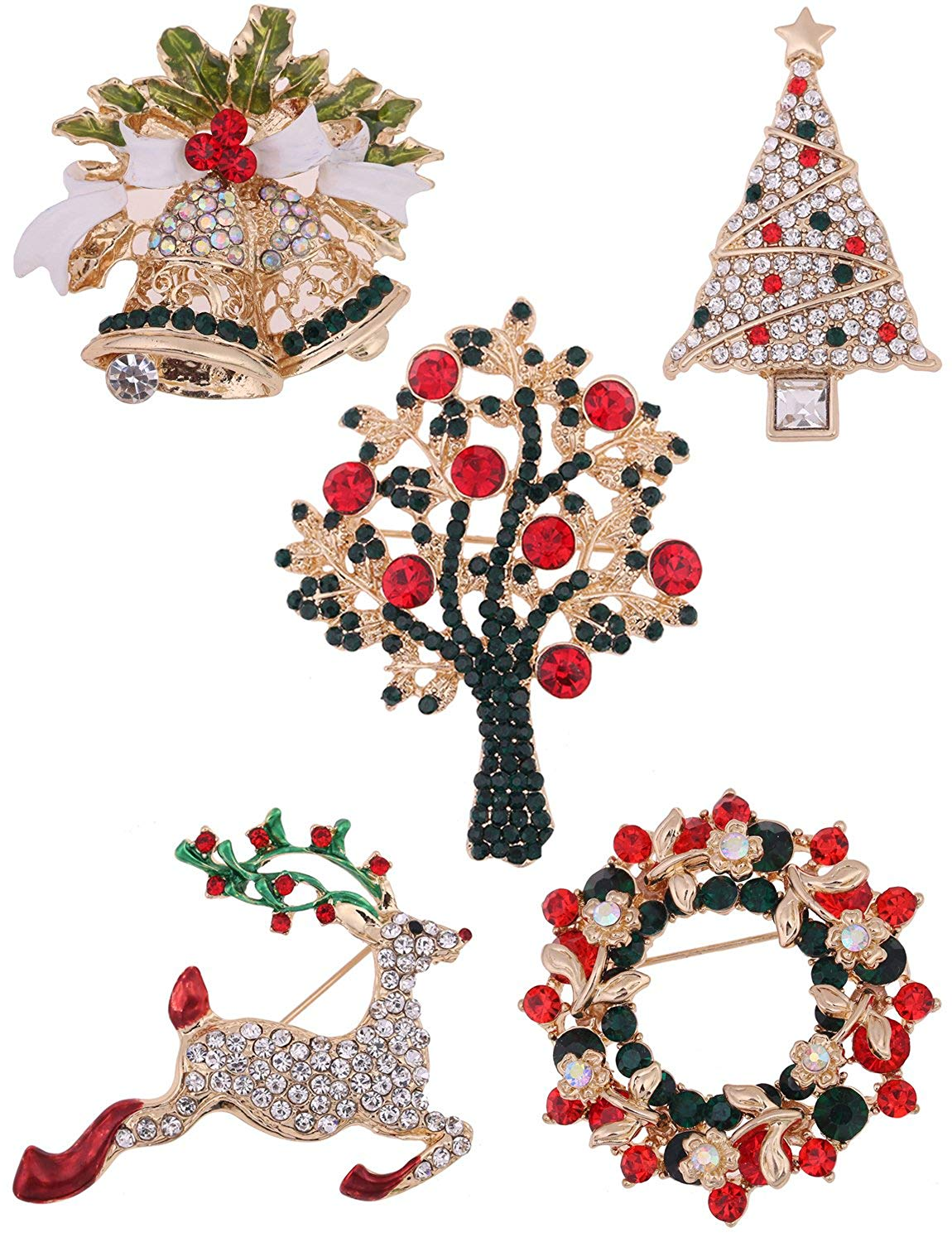 Get Quotations · Youniker 5 Pack Christmas Brooch Pin Set Women Multi  Colored Christmas Brooches Pin Sets Girls Cute e52806b39cd2
