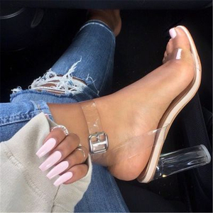 2018 PVC Jelly Sandals Crystal Open Toed High Heels Women Transparent Heel Sandals Slippers Discount Pumps 11CM shoes