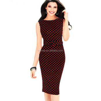 Red Blue Polka Dot Print Office Work Vintage Dress Womens Pin Up Summer  Plus Size 5xl Casual Party Sheath Office Pencil Dresses - Buy Pencil ...