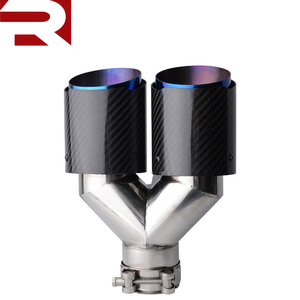 2.5 inch Inlet to 3.5 inch Outlet Dual Carbon Fiber Chrome Blue Auto Muffler Exhaust Tip