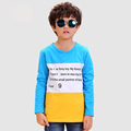 Yellow Letter Boy T shirts Cotton 2016 Fashion Long Sleeve Children s Tops Clothing Character Unisex