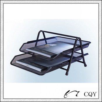 Metal Mesh Office Paper Tray With 2 Layer