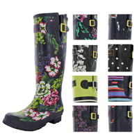 Wellington boots Girl's Ladies women's PVC rain boot rainboots with high heel