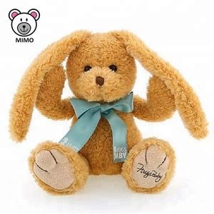2019 New Easter Gift Long Ears Plush Bunny Rabbit Toys With Bowknot Fashion OEM Custom Cute Soft Baby Brown Rabbit Plush Toy