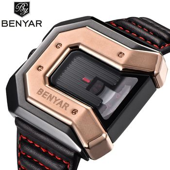 Luxury New Style BENYAR Fashion Large Face Black Steel Leather Band Sport Military Quartz Wrist Watch Men Relogio Masculino
