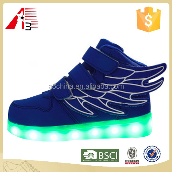 newest design children led lighten luminous shoes with wings