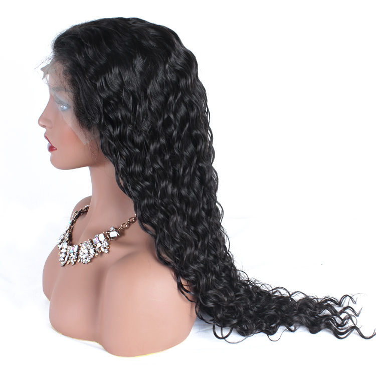 Super swiss lace Indian invisible peruvian deep wave lace front wig for black women