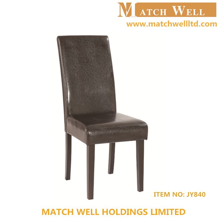 Leatherette cover padded parson high back wooden dining for High back parsons chair