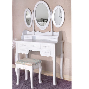 Modern European Pastoral Style White Finish Wooden Mdf Bedroom Vanity Table  Desk Cabinet Dresser With Makeup - Buy Bedroom Cabinet And Dresser,Vanity  ...