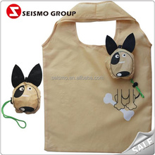 Polyester and Nylon Material Dog Shape Collapsable Shopping Bags