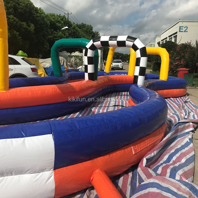go karts cheap PVC air inflatable race track for cars, kids and adult