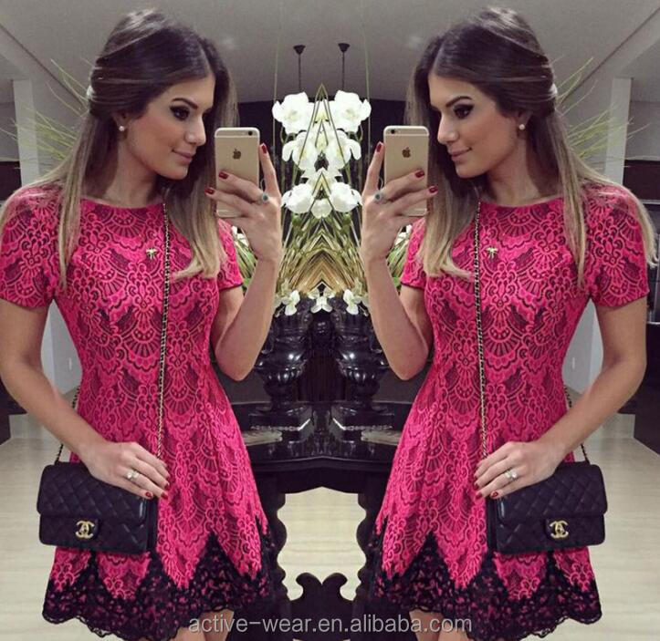 fashion patchwork short sleeves embroidery floral pattern women elegant red lace dress