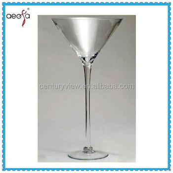Long Stemmed Wholesale Hand Made Tall Clear Glass Martini Vases