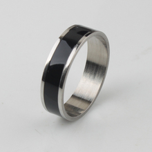 Wide 5mm black stripe rings 316L Stainless Steel men finger ring Free shipping wholesale lots