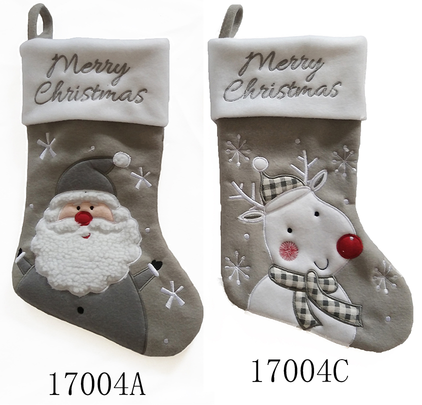 18 inch Xmas tree decoration various stocking for hanging